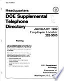 Headquarters DOE Telephone Directory