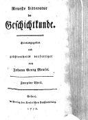 Neueste Litteratur der Geschichtkunde