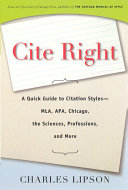 Cover of Cite Right