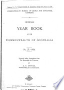 Official Year Book Of The Commonwealth Of Australia No 27 1934