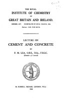 Lecture on Cement and Concrete