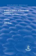 A Critical Edition of Ferdinando Parkhurst s Ignoramus  The Academical Lawyer