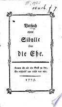 Versuch einer Sibylle über die Ehe. [By J. G. Hamann the younger.]