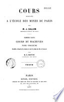 Cours professés a l'École des Mines de Paris
