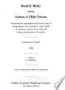 Who's who Among Living Authors of Older Nations ...