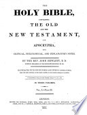 The Holy Bible     with Critical  Philological and Explanatory Notes by the Rev  John Hewlett     Illustrated with     Engravings  Etc