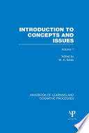 Handbook of Learning and Cognitive Processes  Volume 1  Book PDF