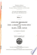 Annotated Bibliography and Index of Geology and Water Supply of the Island of Oahu, Hawaii