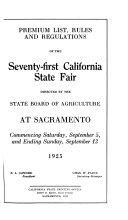 Premium List  Rules and Regulations of the     California State Fair Book PDF