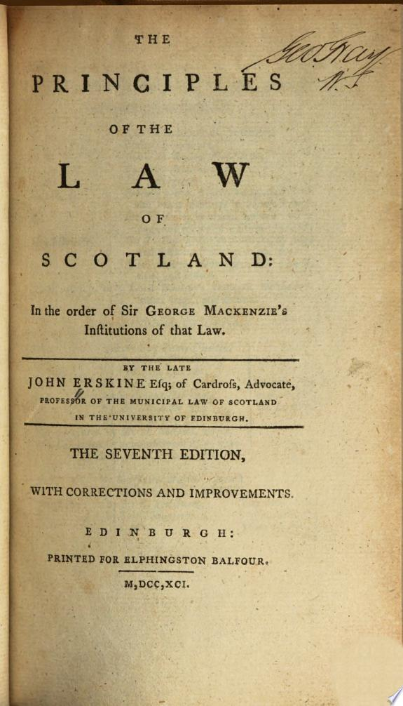 The principles of the law of Scotla