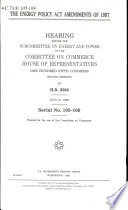 The Energy Policy Act Amendments of 1997 Book