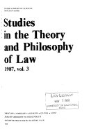 Studies in the Theory and Philosophy of Law