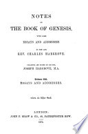 Notes on the Book of Genesis  Essays and Addresses