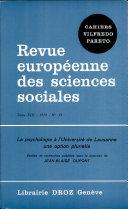 La Psychologie à l'Université de Lausanne