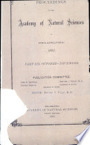 Proceedings Of The Academy Of Natural Sciences Part Iii Oct Dec 1893
