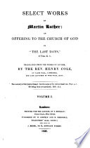Select Works of Martin Luther