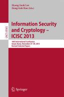 Information Security and Cryptology -- ICISC 2013 [Pdf/ePub] eBook