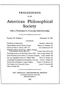 Proceedings, American Philosophical Society (vol. 105, no. 6, 1961)