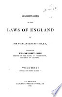 Commentaries on the Laws of England  , Band 2