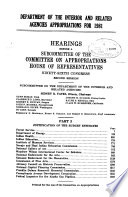 Department of the Interior and Related Agencies Appropriations for 1981