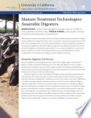 Manure Treatment Technologies Anaerobic Digesters Book PDF