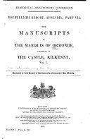 Pdf The Manuscripts of the Marquis of Ormonde, Preserved at the Castle, Kilkenny ...: Manuscripts