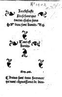 Lecclesiaste Preschant que toutes choses sans dieu, sont vanite. (Annotations sur le liure de Lecclesiaste.) G.L.