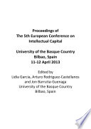 Proceedings of the 5th European Conference on Intellectual Capital