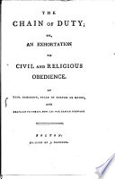 The Chain of Duty  Or  an Exhortation to Civil and Religious Obedience  By Thos  Bancroft    Book