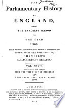 Cobbett S Parliamentary History Of England From The Norman Conquest In 1066 To The Year 1803 From Which Last Mentioned Epoch It Is Continued Downwards In The Work Entitled Cobbett S Parliamentary Debates
