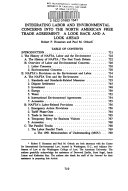 Integrating Labor And Environmental Concerns Into The North American Free Trade Agreement Book