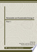 Renewable and Sustainable Energy II Book