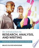 An Introduction to Research  Analysis  and Writing