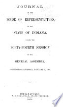 Journal of the House of Representatives of the State of Indiana     Book