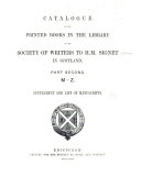 Catalogue of the Signet Library