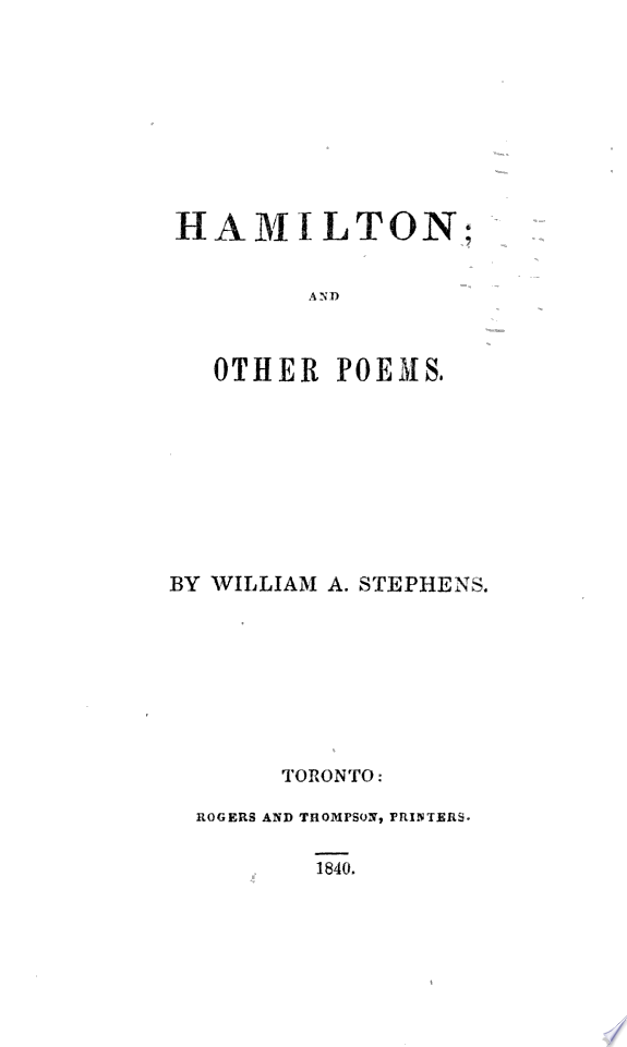 Hamilton, and Other Poems