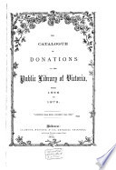 The Catalogue of Donations to the Public Library of Victoria