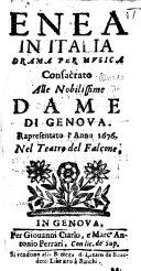 Enea in Italia. Drama per musica [altered from Giacomo Francesco Bussani] ... Rapresentato l'anno 1676 nel Teatro del Falcone ebook