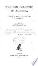 English Colonies in America      Virginia  Maryland and the Carolinas