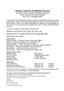 African Journal Of Political Science