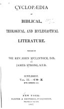 Cyclopaedia of Biblical  Theological  and Ecclesiastical Literature  C  D