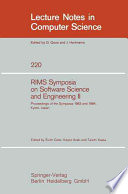 Rims Symposium On Software Science And Engineering Ii Book PDF