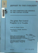 The urban rat control program is in trouble   Center for Disease Control  Department of Health  Education  and Welfare