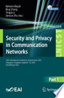 Security and Privacy in Communication Networks Book