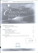 Cataloging Service Bulletin