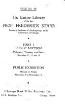The Entire Library of the Late Prof. Frederick Starr ...
