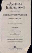American Jurisprudence Second Edition Comulative Supplement