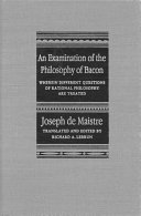 Pdf Examination of the Philosophy of Bacon Telecharger