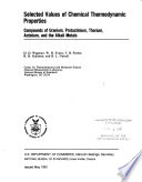 Selected Values of Chemical Thermodynamic Properties