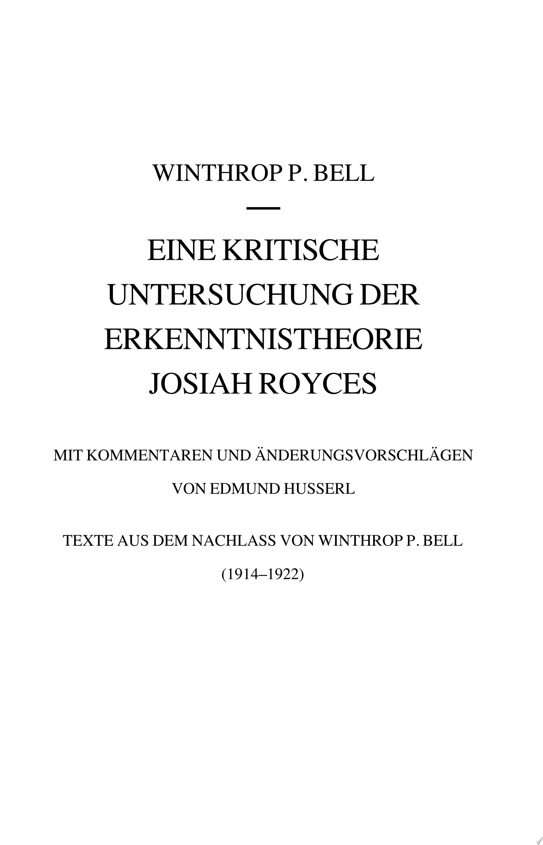 Eine kritische Untersuchung der Erkenntnistheorie Josiah Royces